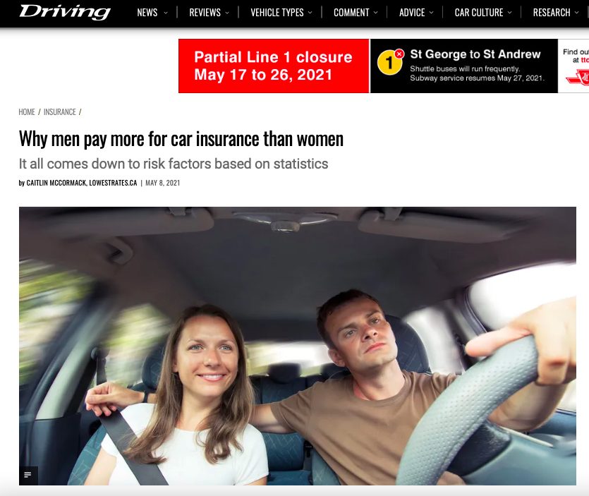 Why men pay more for car insurance than women